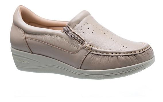 Mocassim Feminino Esporão 200 Em Couro Ostra Doctor Shoes
