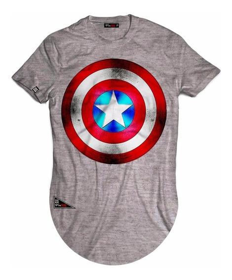 Camiseta Camisa Long Line Capitão America Escudo Marvel