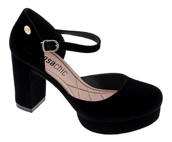 Sapato Feminino Salto Alto Boneca Preto Gro Charmosa Clique+