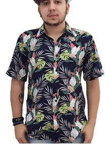 Camisa Masculina Estampa Viscose Manga Curto Moda 2019