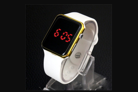 Relógio De Pulso Digital Led Masculino Feminino - Dourado