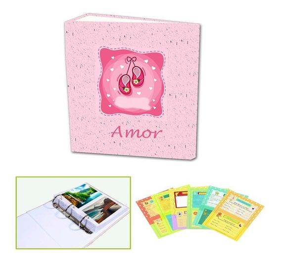 Album Do Bebê Luxo Com Historinha Para Acompanhamento Do Primeiro Aninho +01 Brinde Modelo Feminino