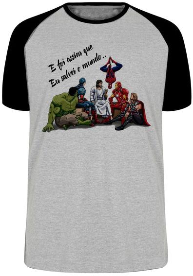 Camiseta Luxo Jesus Foi Assim Que Eu Salvei O Mundo Heroi