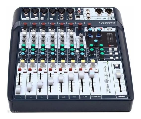 Mesa Som Analógico Soundcraft Signature 10 Canais Mixer Usb