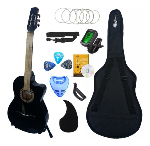 Imagen 1 de 3 de Guitarra Acústica Curva Paquete Definitivo De Accesorios