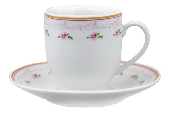 Jogo Xícaras Café Chá 8 Peças 90ml Porcelana
