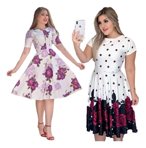 2 Vestidos Evangélicos Evasê Gode Neoprene Floral