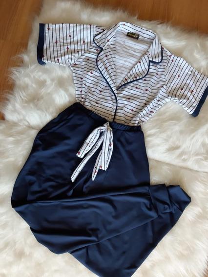 Conjunto Pijama Blogueira Camisa E Calça Estampada