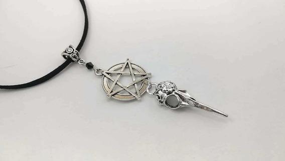 Collar Pentagrama Con Cuervo Goth Gotico Dark