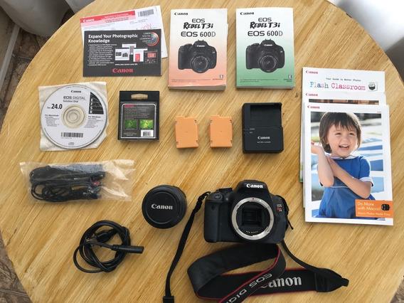 Câmera Canon Rebel 600d T3i Com 2 Baterias E Bolsa
