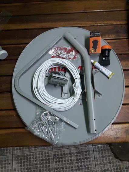 Antena Ku 60 + Lnb Simples + 10mts Cabo + 2 Conectores 5 Kti