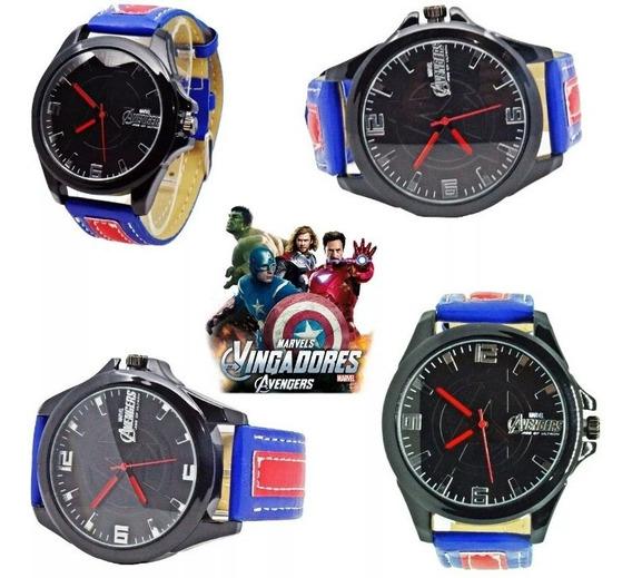 Relógio Avengers Vingadores Capitão América Pulseira Couro