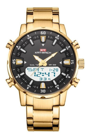 Relógio Kat-wach Masculino Anadigi Kt1815 Dourado E Preto