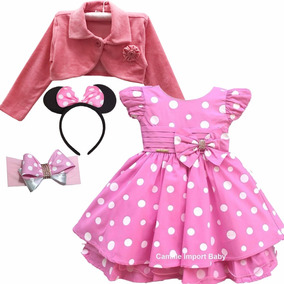 Vestido Infantil Festa Minnie Rosa Luxo Com Bolero E 2 Tiara