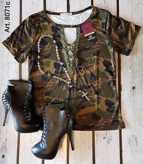Camiseta Remera Camuflada Militar Acordonada Impor Art 8071c