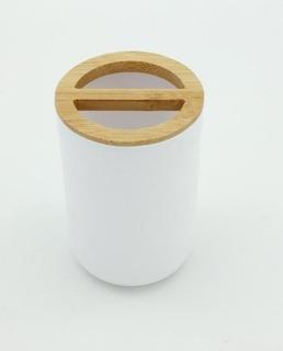 Vaso Deco Organizador Bambú Baño Cocina Diseño Tipo Morph