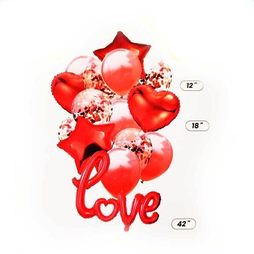 Bouquet X15 Globos Metalizados Palabra Love Inflable Cursiva