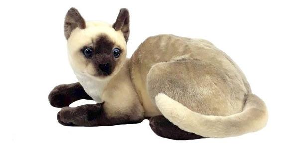 Gato Siamês Deitado Pelúcia 37 Cm Lavável Antialérgico Uniss