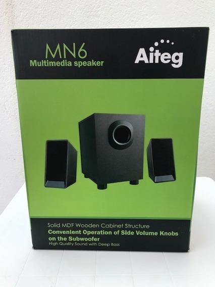 Cornetas Home Theater 2.1 Aiteg Mn6 Subwoofer Bluetooth Usb