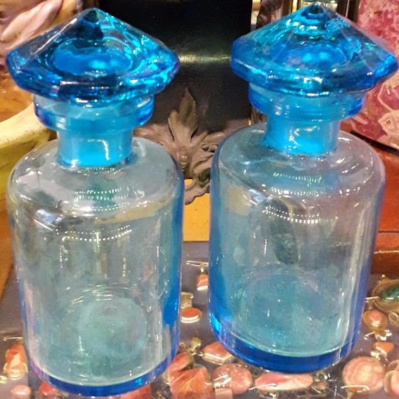 Par Perfumero Frasco Farmacia Cristal Celeste Art Deco 15 Cm