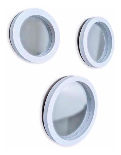 Espelho Decorativo Redondo Sala Quarto 3 Peças