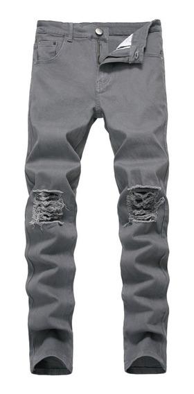 Homens Rasgado Motociclista Jeans Sólido Stretch Skinny Cal