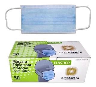 Kit Com 100 Mascara Descartavel Descarpack
