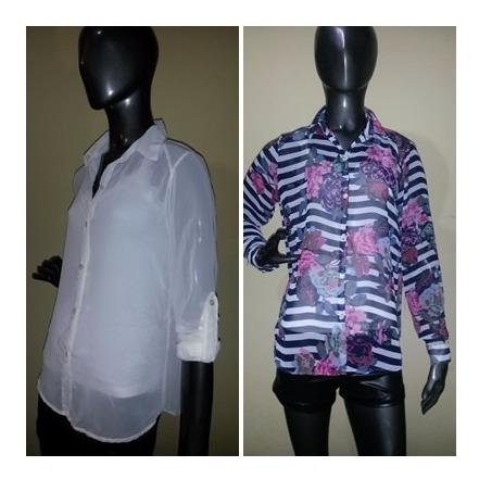 Camisas Gasa Mangas Largas - Mangas 3/4 - Lisas Y Estampadas