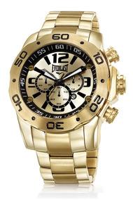 Relógio Masculino Dourado Everlast E545 Aço Inox Promoção
