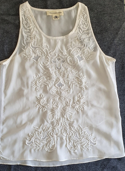 Musculosa Natural Bordada