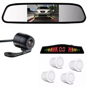 Kit Sensor De Estacionamento Branco Câmera De Ré Espelho Lcd