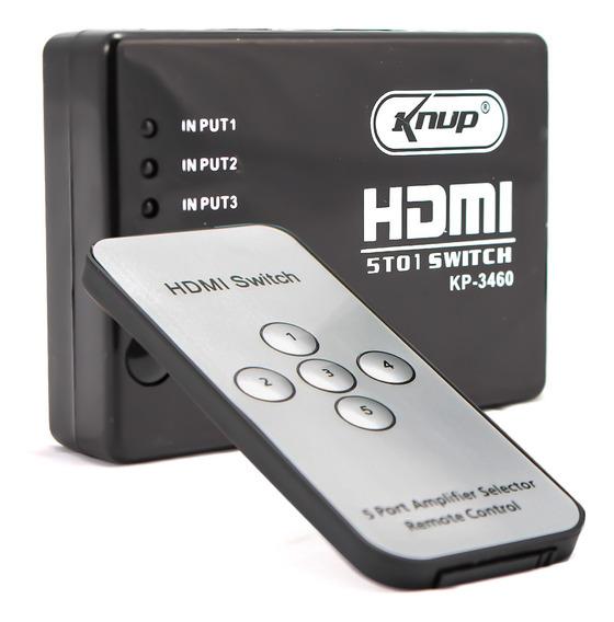Adaptador Switch Hdmi 5x1 4k 5 Entradas 1 Saída Tv Ps4 Xbox