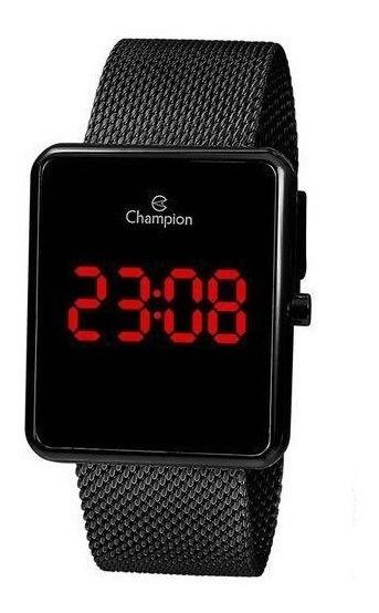 Relógio Digital Unissex Champion Preto Ch40080d Quadrado