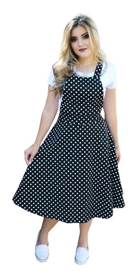 Vestido Salopete Midi Rodado Princesa Moda Evagelica
