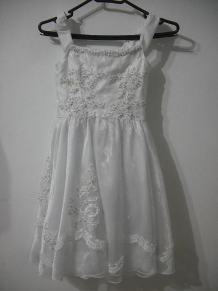 Vestido Infantil Daminha Dama Branco Cfe Medidas Cod Mc4