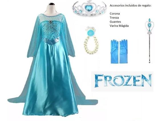 Vestido De Princesa Elsa Para Niña + 4 Accesorios De Regalo.