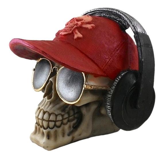 Crânio Com Fone De Ouvido Óculos Caveira Em Resina C/ 6
