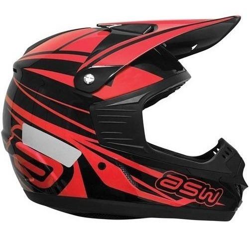 Capacete Asw Vermelho Motocross Trilha 58