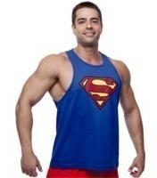 Camiseta Regata Cavada Azul Treino Academia Fitness Superman