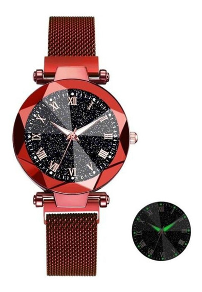 Relógio Feminino Céu Estrelado De Luxo Com Fecho Magnético