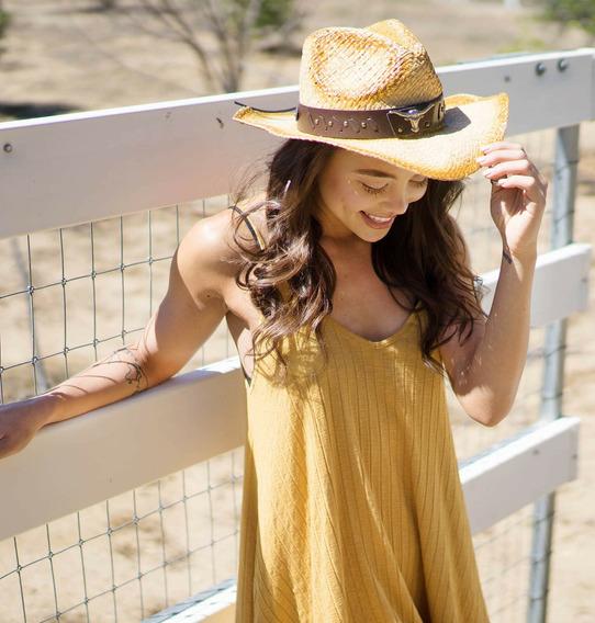 Nueva Moda Cómoda Vaquera Occidental Estilo Paja Sombrero