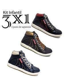 b4645de2e5 Kit Com 3 Botinhas Sapatenis Casual Infantil Couro Ecologic