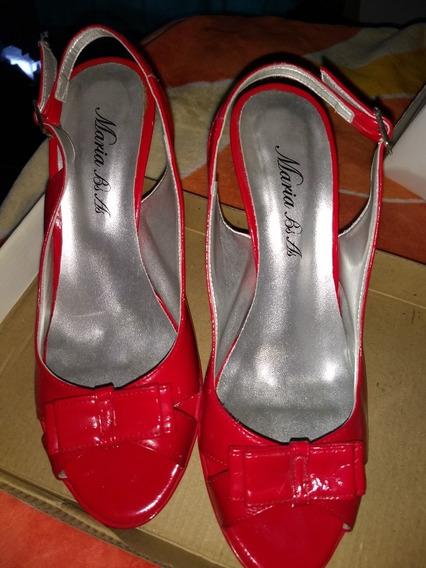 Sandalias Rojas Usadas Mujer N°39