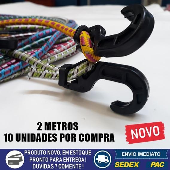 10 Extensor Corda Elástico 2 Metr Bagageiro Plástico + Nf-e