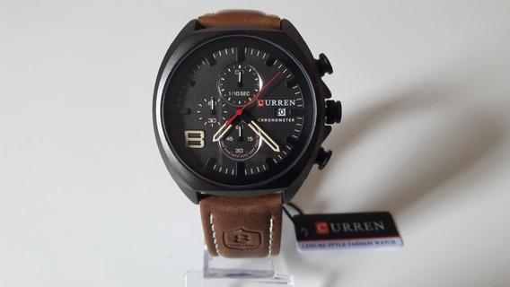 Relógio Curren Original Funcional Pulseira De Couro + Caixa