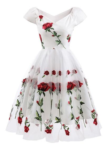 Vestido Hombros Descubiertos Con Bordado De Flores P/mujer