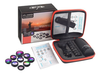 Apexel Kit 10 Lentes Profissional Zoom + Macro Wide Fisheye