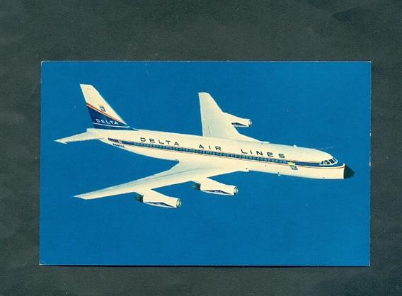 Delta Airlines . Antigua Tartjeta Publicitaria .