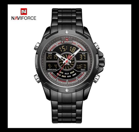 Relógio Naviforce Luxo Preto Analógico E Digital