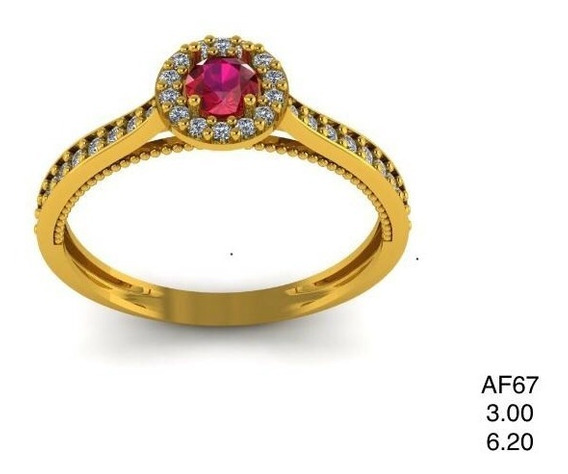Anel Em Ouro 18k Com Pedra Natural (turmalina) E Diamantes.
